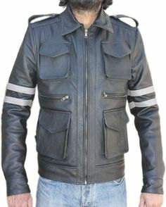 Resident Evil 6 Real Leather Jacket Best Offer Sale With (17%) Discount:  Leon S. Kennedy worn this jacket in Resident Evil Video Game's 6th edition and presenting central role of this game. This leather jacket manufactured by primary leather. So now your turn to wear this Resident Evil 6 Leather Jacket. Product Details: ╬ Collar: Shirt style ╬ Design: Two grey straps on sleeves ╬ Type: 100% Real Leather ╬ Free Gift Included ╬ EASY RETURNS & EXCHANGES