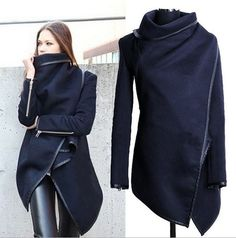 Can't wait!! I Just ordered this Vogue Long Sleeve Turndown Collar Blue Coat for Woman ---- fashion Irregular and Turtleneck design, warm and fashion, match leather pants and boots, very fashion.