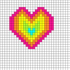 Perler Bead Rainbow Heart Perler Bead Pattern | Bead Sprites | Misc Fuse Bead Patterns