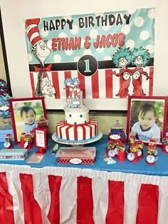 Dr Seuss Thing 1 Thing 2 Twin Boys First Birthday Party Birthday Party Ideas | Photo 1 of 40 | Catch My Party