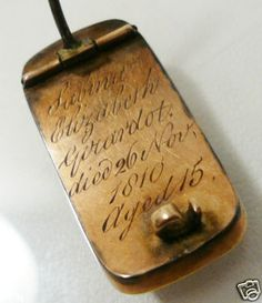 Mourning jewelry for a girl who died in 1810, aged 15.