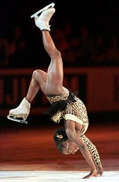 Surya Bonaly, world renowned French skater whose trademark move is her backflip. Never got the credit she deserved back then although she could do stunts no one else could do! Go figure. She was badass personified!
