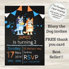 Throw your child their dream birthday party by making Bluey themed - starting with the invitations! Bluey is the cartoon taking Australia by storm and a Bluey party is sure to be a hit with children and parents alike. Dog Birthday, Third Birthday, Birthday Bash, Birthday Parties, Birthday Ideas, Printable Invitations, Birthday Invitations, Invites, Circus Carnival Party