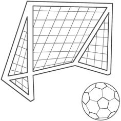 coloring page soccer ball net kids sports