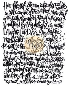 Psalm 1:1-4 / Psalms Print / Intro to Psalms / by The Handwritten Word