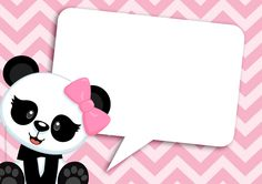 Panda Baby in Pink Chevron Free Printable Invitations. Free Baby Shower Invitations, Baby Sprinkle Invitations, Printable Baby Shower Invitations, Baby Shower Cards, Panda Birthday Party, Panda Party, Bear Party, Happy Birthday Signs, Birthday Thank You Cards