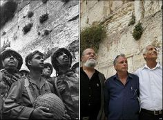 Iconic photo from Israel's 6-day War 1967. 3 Israeli paratroopers reach the western wall Old City of Jerusalem following the battle for the city. And the same men 40 years later.
