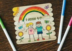 Here's a cute little puzzle your kids can make out of Popsicle/craft sticks. It makes a fun gift to give to a friend.