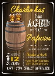 Birthday Party Invitations Aged To Perfection Whiskey Whisky Barrel 30th 40th 50th