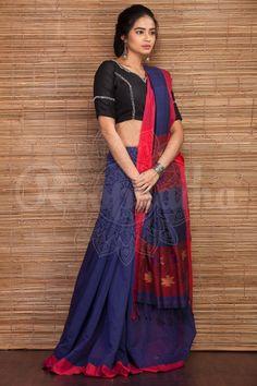 Blue Organic Handloom Saree With Woven Pallu