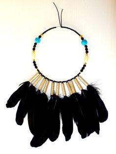 F536 Colar Amuleto Indigena, penas pretas, missangas e pedras turquesas-Peça única  FW14-15 |ETNIAS  NãoSóRoupa| Design by Patrícia Domingues naosoroupa@gmail.com