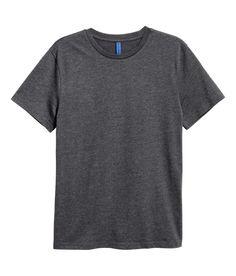 Rundhalsad t-shirt | Mörk gråmelerad | Herr | H&M SE