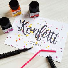 art therapy activities creative Konfetti fr alle - ein Handlettering Bild im Lettering Guide fr Anfnger Lettering Guide, Brush Lettering, Hand Lettering, Ideas Scrapbook, Baby Scrapbook, Picture Letters, Diy Letters, Diy Instagram, Sketch Note