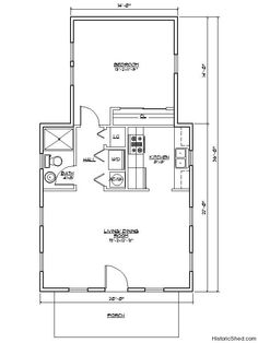 20'x36' one bedroom, one bath cottage (636 SF) by Historic Shed