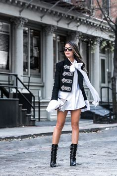 Holiday Rhythm :: Embellished jacket & Military boots :: Outfit ::  Top :: Alice + Olivia jacket, Ellery blouse Bottom :: Line & Dot Bag :: Proenza Schouler Shoes :: Isabel Marant Accessories :: Karen Walker sunglasses, Tiffany & Co rings, Essie 'Wicked' polish Published: November 23, 2016