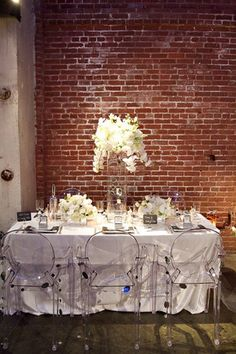 Sonal j shah event consultants llc different types of chairs to love the acrylic ghost chairs with this all white table setting for a party junglespirit Images