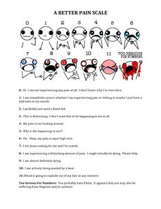 Yessss! I always wondered what they wanted the pain scale to be like. Sometimes it is just specific to your pain, but other times it is like this. So thank you Pinterest.