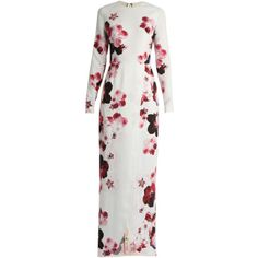 Elie Saab Floral-print crepe gown ❤ liked on Polyvore (see more long white dresses)