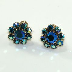 Blue Aurora Borealis Earrings Tested 10 KG Floral Design with Screw Backs Non-magnetic Prong Set Late Mid Century Austrian Crystal Vintage Earrings, Vintage Jewelry, Flower Earrings, Stud Earrings, Vintage Style, Vintage Fashion, Screw Back Earrings, Austrian Crystal, Prong Set