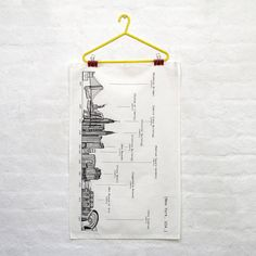 A 100% cotton tea towel with Cecily's illustration of the New York skyline as well as all the height and dates of the landmarks.The buildings included are: Brooklyn Bridge, Statue of Liberty, Empire State Building, Chrysler Building, Flatiron Building, New Museum, Madison Square Gardens, Plaza Hotel, Guggenheim Museum, Met Museum and Shea Stadium. It is made in the U.K. in Lincolnshire. It is the perfect momento for anyone who loves New York and also looks great in a frame.The tea towel is…