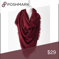 """Cranberry Blanket Scarf This gorgeous cranberry colored blanket scarf is the color of the year! It is 100% soft acrylic and can be worn in a multitude of ways! Measures 57"""" x 57"""". mackenzi lane  Accessories Scarves & Wraps"""