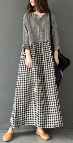 Classy v neck linen Robes Tunic Tops plaid Dress summer – travel outfit summer Chic Dress, Classy Dress, Classy Clothes, Style Clothes, Linen Dresses, Cotton Dresses, Linen Tunic Dress, Apron Dress, Midi Dresses