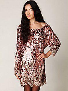 Long Sleeve Pailettes Dress