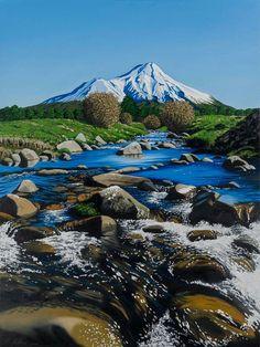Mt Taranaki from Stratford, Taranaki, New Zealand. Price: $1700. Feel free to message me on my Facebook site : Kevin Betteridge Art Landscape Photos, Landscape Art, Landscape Paintings, Landscapes, New Zealand Houses, New Zealand Art, New Zealand Landscape, Nz Art, Maori Art