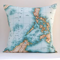 Ready to Ship PHILIPPINES Vintage Map Pillow 18 x 18 by saltlabs, $49.00