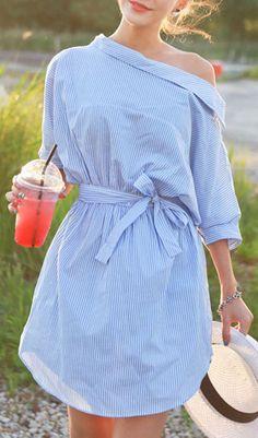 Blue Off Shoulder Stripe Print Button Side Bow WaistDress