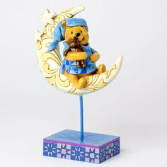 """Pooh and his teddy are ready for beddie! """"BEDTIME BEAR"""" - WINNIE THE POOH AND TEDDY BEAR ON MOON FIGURE (Jim Shore Disney Traditions)"""