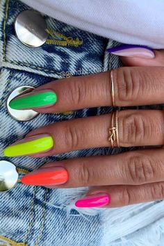 25 Nail Art Ideas and Trends to Try in 2020 | Page 2 of 2 | StayGlam Summery Nails, Bright Summer Acrylic Nails, Best Acrylic Nails, Neon Nails, Glue On Nails, Swag Nails, Neon Nail Designs, New Nail Art Design, Coffin Shape Nails