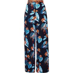 We Are Handsome - Nocturna Wide Leg Pants ($236) ❤ liked on Polyvore featuring pants, print pants, blue pants, high-waisted pants, wide leg trousers and highwaist pants