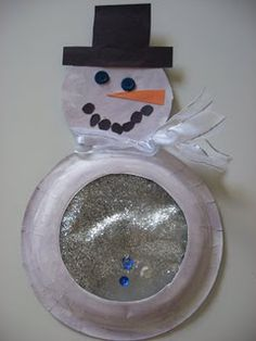 Snow globe snowman using a paper plate.