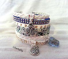 Bracelet LIBERTY authentique manchette Très Large blanc / bleu femme mode été : Bracelet par libertylily