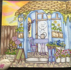 Outside the Flower Shop. My Colorful Town by Chiaki Ida. Prismacolors.