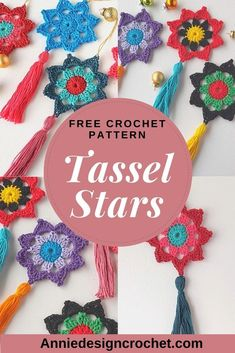 Crochet a Tassel Star decoration in 15 minutes! These quick and easy crochet Stars work up so fast with this free pattern, and you can have great fun using your favourite colours! Use vibrant folk colours, or traditional Christmas shades to make these bright and cheerful Stars. Or make in a single colour. Add a tassel for extra flair and you have crochet decorations to adorn your tree that you will be proud of! Crochet Star Patterns, Crochet Stars, Christmas Crochet Patterns, Applique Patterns, Crochet Motif, Free Crochet, Crochet Appliques, Holiday Crochet, Crochet Flowers