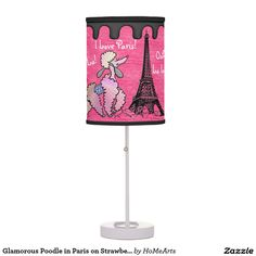 Glamorous Poodle in Paris on Strawberry Pink Table Lamps