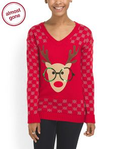 image of Juniors Nerdy Reindeer Sweater