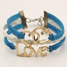 Vintage Dual Hearts LOVE Pendant Multilayer Woven Bracelet