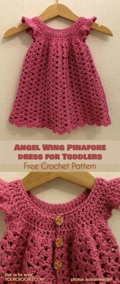 Angel Wing Dress for Toddlers and Girls Free Pattern - Angel Wings Pinafore Dress for Toddlers and Girls Free Crochet Pattern Crochet Baby Dress Free Pattern, Crochet Toddler Dress, Toddler Dress Patterns, Crochet Dress Girl, Baby Girl Crochet, Crochet Baby Clothes, Crochet For Kids, Baby Patterns, Crochet Patterns