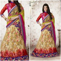 Pink and yellow Flower Designer lehenga wid saree red and purplishpink blouse Product Number:NRNS-MHSV3748