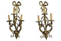 Brass 3-Arm Sconces, Pair on OneKingsLane.com