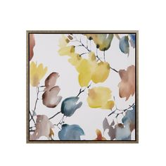 Madison Park Signature Autumn Watercolor Leaves Yellow Hand Embroidered Bronze Frame