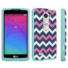 DuroCase ® LG Leon LTE H345 MS345 C40 / LG Tribute 2 LS665 / LG Sunset L33L / LG Power L22C / LG Destiny L21G (Released in 2015) Hard Case Mint - (Navy Pink Chevron)
