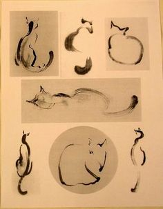 Sumi-e ink cat