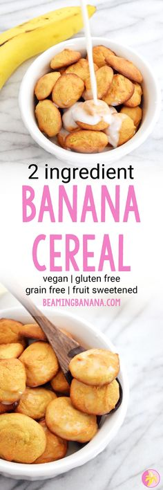 Vegan 2 Ingredient Banana Cereal – Sweet Vegan Sara This vegan 2 ingredient banana cereal is the best topping for smoothie bowls, adding to granolas, or just eating on its own! Made with 2 healthy ingredients and fruit sweetened. Clean Dinner Recipes, Clean Eating Dinner, Vegan Breakfast Recipes, Vegan Snacks, Healthy Snacks, Vegan Recipes, Potato Recipes, Healthy Eating, Smoothie Bowl