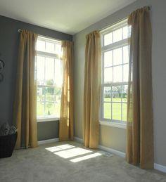 DIY Burlap Curtains and Galvanized Steel Pipe Curtain Rods