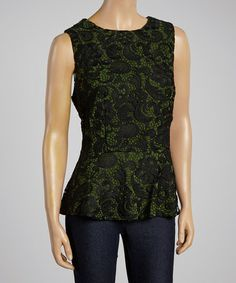 Another great find on #zulily! Green & Black Paisley Peplum Top #zulilyfinds