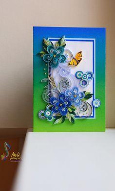 neli: Quilling cards /14.8 cm- 10.5 cm/ - summer